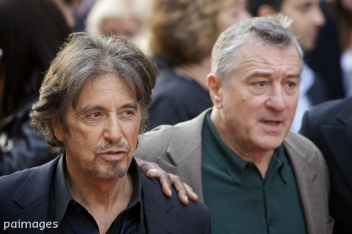 "U.S. actors, from left, Al Pacino and Robert De Niro arrive for the British premiere of their latest movie ""Righteous Kill"", at a cinema in central London Sunday, Sept. 14, 2008. (AP Photo/Edmond Terakopian)"