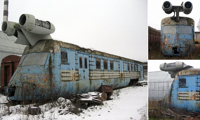 Soviet Jet Train from the 1970s  Taken from https://www.thevintagenews.com/2016/06/02/the-strange-now-sadly-abandoned-soviet-jet-train-from-the-1970s/  Taken from open web pages, unable to find original source, please legal before publishing