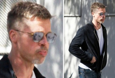 PREMIUM EXCLUSIVE. Coleman-Rayner Los Angeles, CA, USA. March 30, 2017 Brad Pitt looks noticeably thin as he arrives at a Los Angeles studio sporting a new ÔPeaky BlindersÕ style haircut. The 53-year-old shuffled along in a black bomber jacket, white T-shirt, blue jeans and suede Chelsea Boots. CREDIT LINE MUST READ: Coleman-Rayner Tel US (001) 310 474 4343 - office  www.coleman-rayner.com