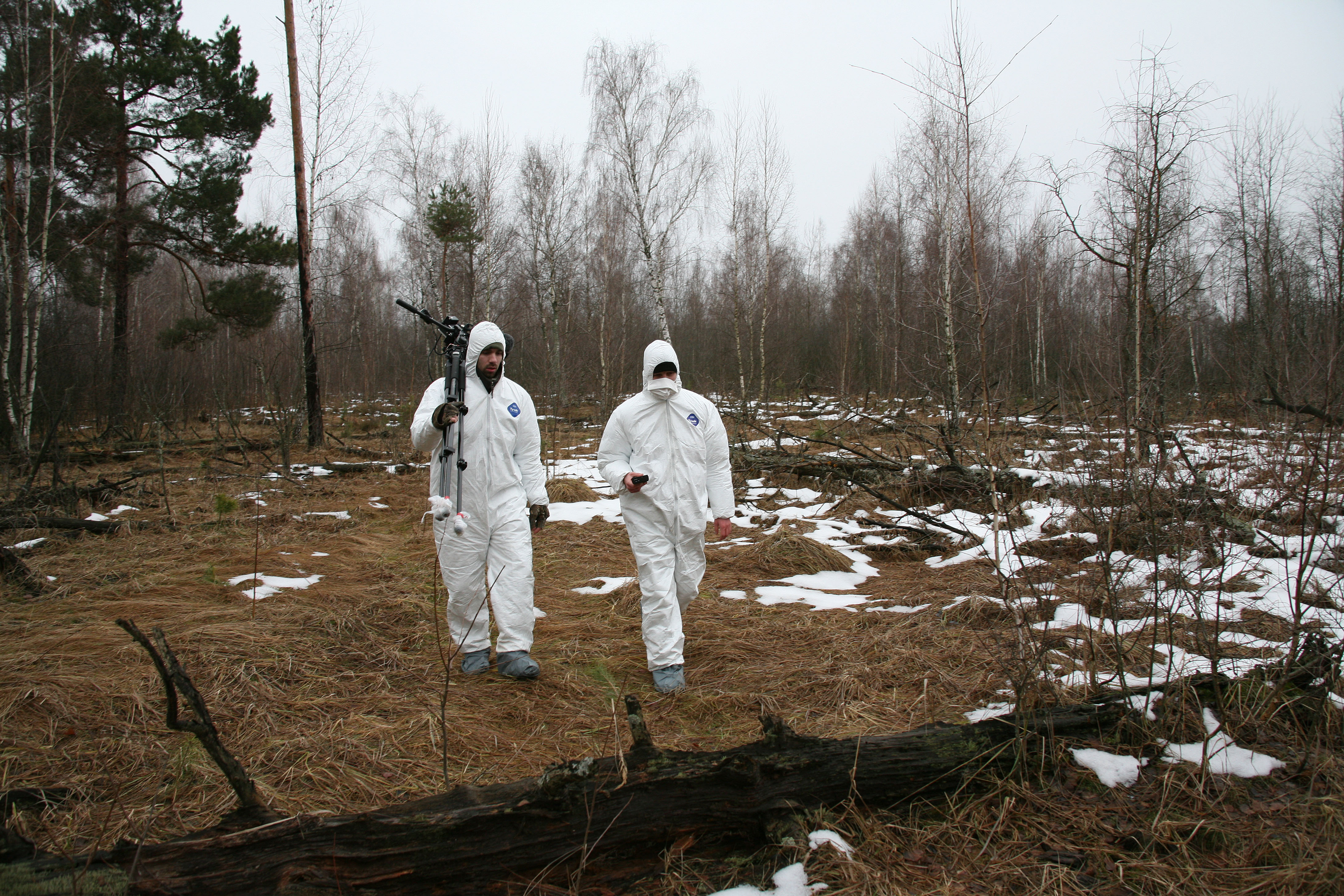 Michael and Stefan strolling through the Red Forest of Chernobyl