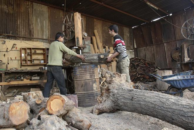Workers cut firewood in the besieged town of Arbeen in the eastern Ghouta of Damascus